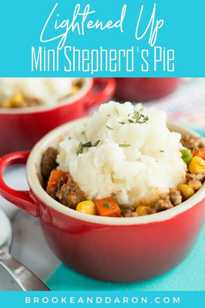 A small red mug filled with the best shepherds pie recipe