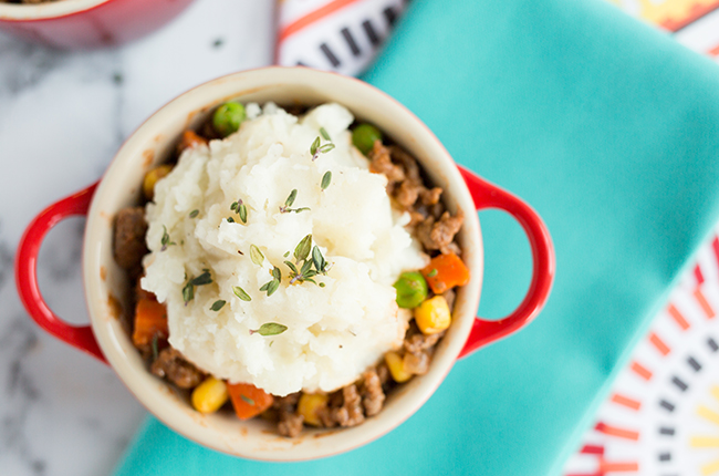 An overhead picture of the best shepherds pie in a mini crock