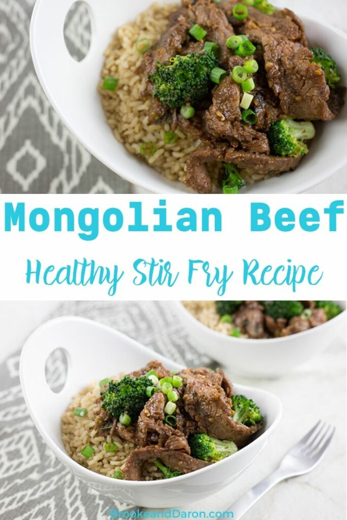 Beef stir fry recipe in large white bowls with brown rice and broccoli