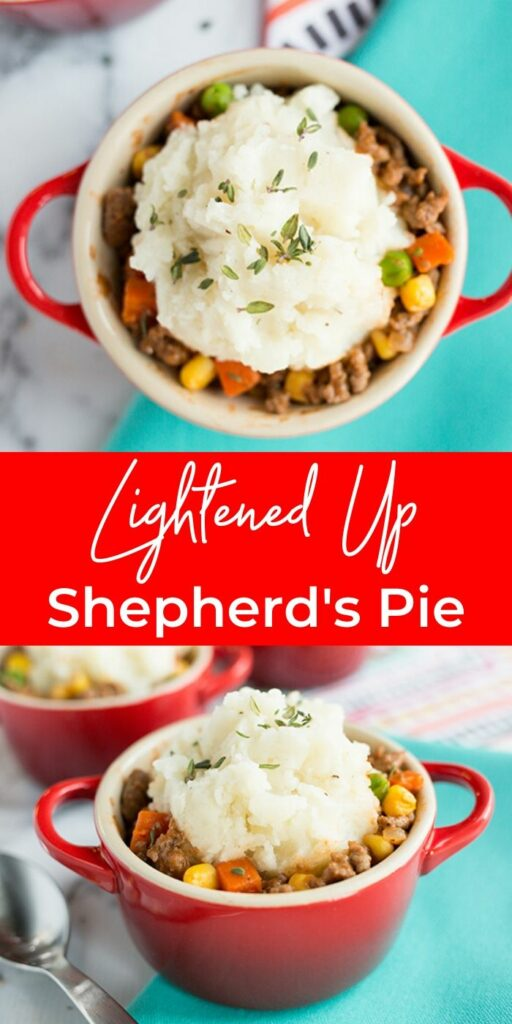 Collage picture of mini shepherds pie recipe in a red bowl