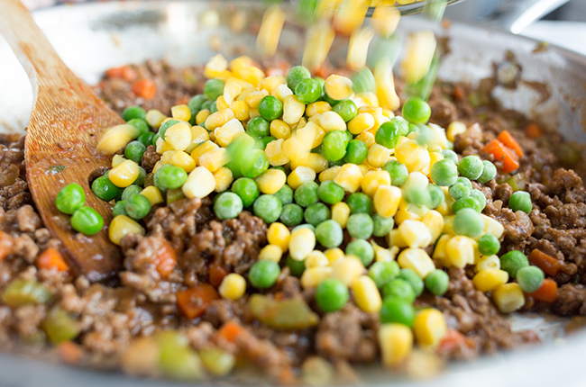 Cooking the shepherds pie filling