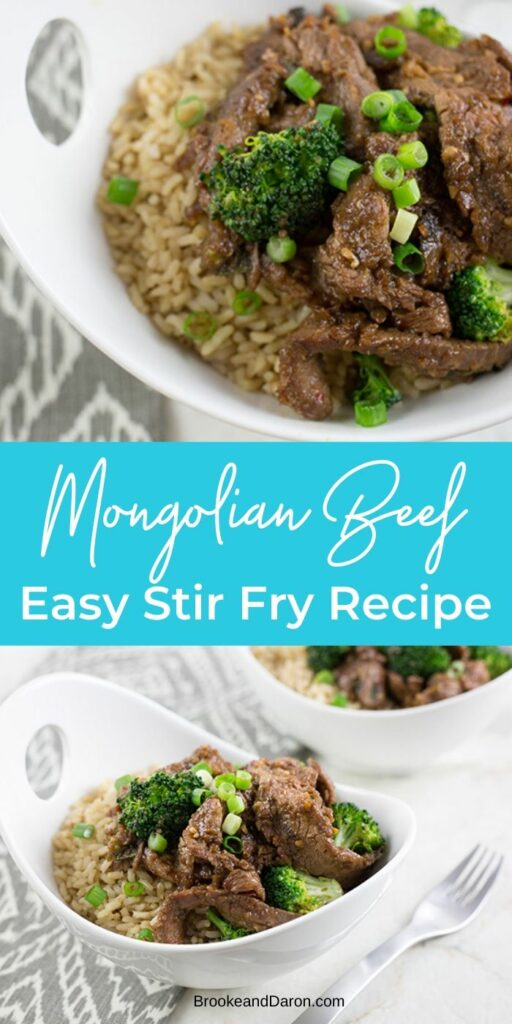 Easy Stir Fry Recipe for Mongolian Beef in large white bowls on a gray table