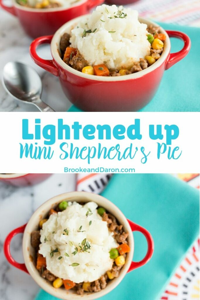 Mini shepherds pie in a small red bowl topped with mashed potatoes