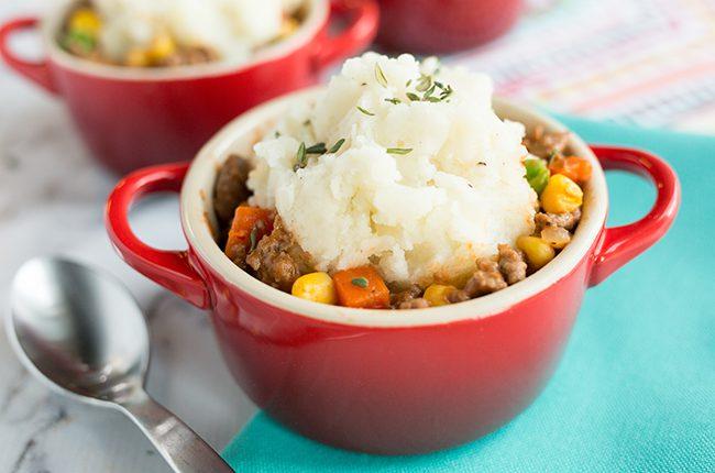The best shepherds pie recipe in a small red crock