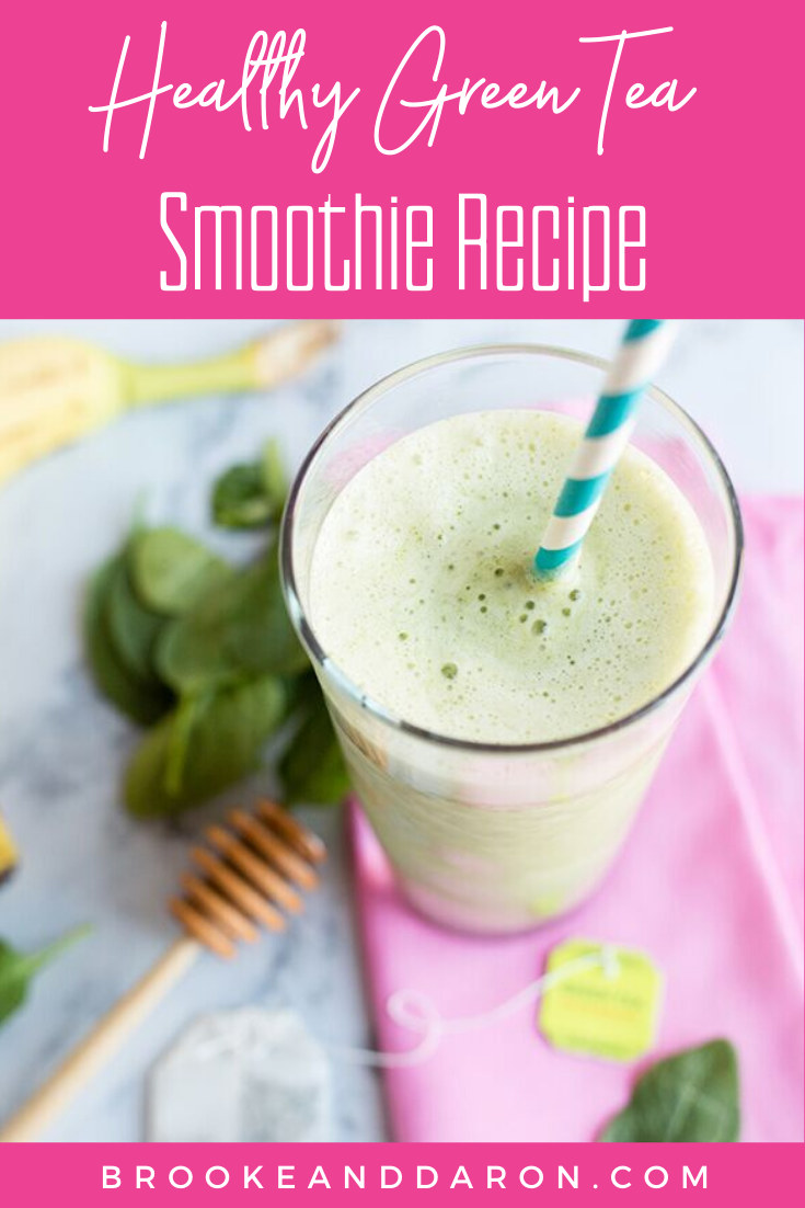 Green tea smoothie in tall glass