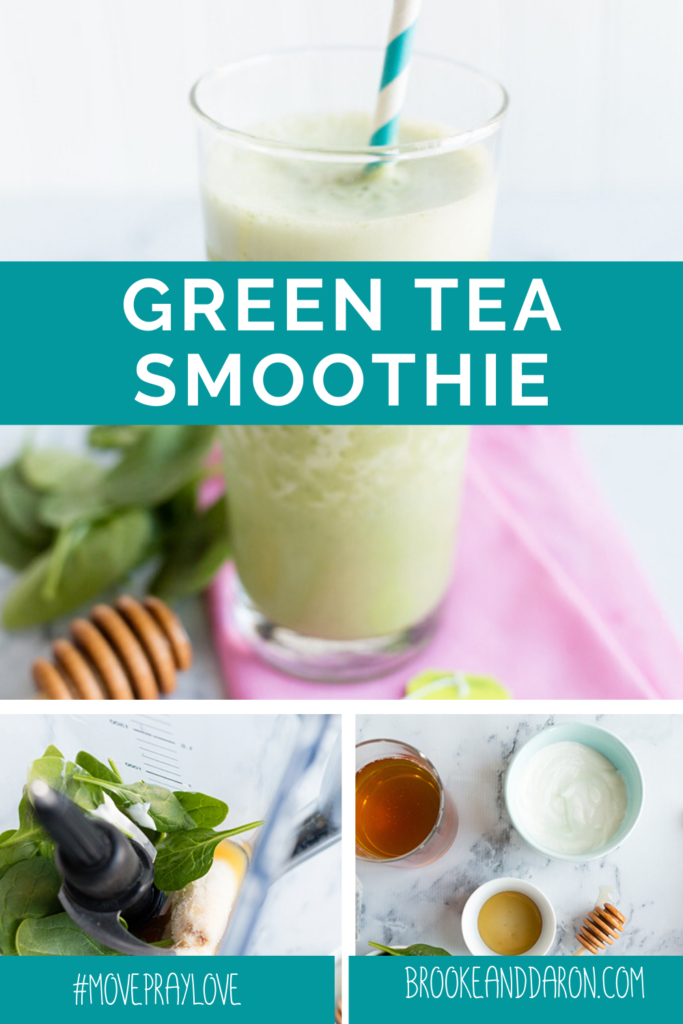 Green tea smoothie in glass and being made