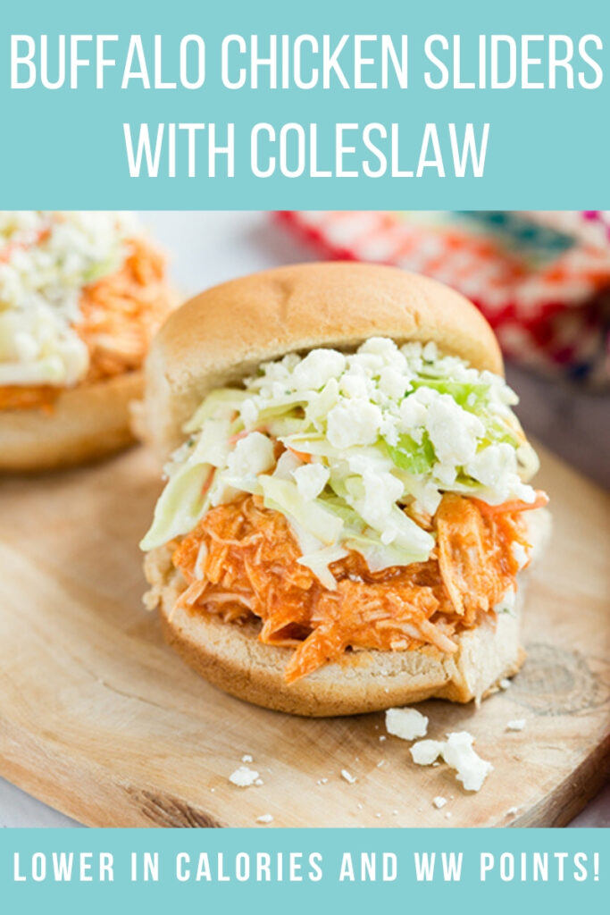 pinterest image of buffalo chicken sliders with coleslaw