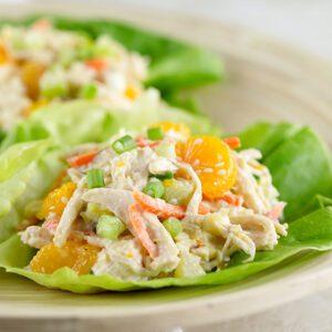 Low Calorie Asian Chicken Salad Lettuce Wraps