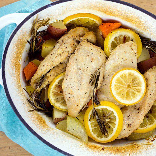 One Pan Lemon Rosemary Chicken and Rice