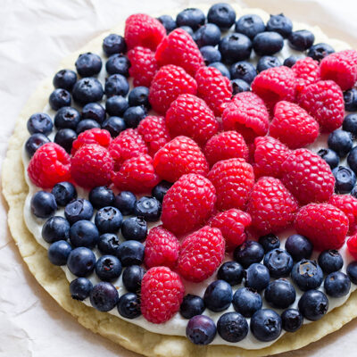 American Star Fruit Pizza with Homemade Cookie Crust