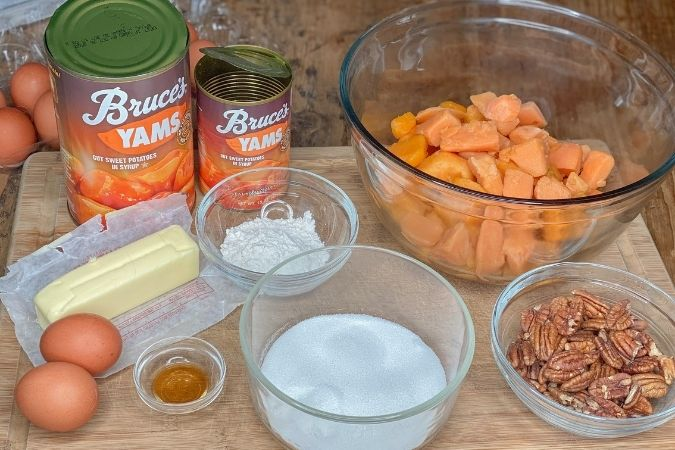 image of ingredients to make sweet potato casserole