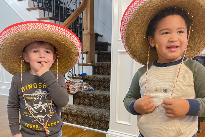 tyson and denver wearing sombraros for mexican fiesta