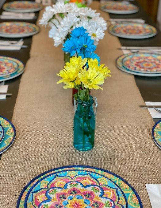 mexican fiesta decor table setting overview