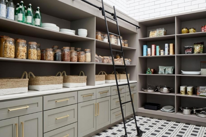 pantry with ladder