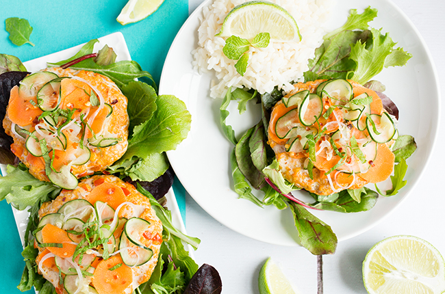 Thai Burgers with Cucumber Slaw