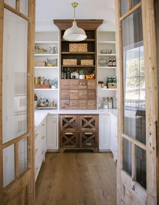 white and wood pantry