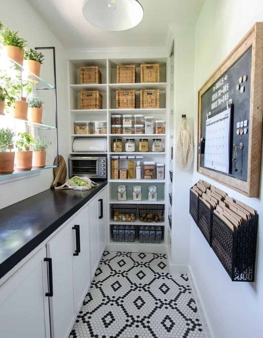 black and white pantry remodel
