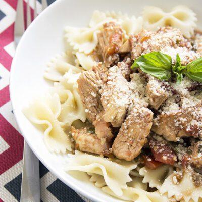 Lightened-Up Grilled Chicken Bruschetta Pasta