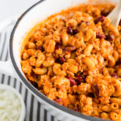 One Pot Cheesy Turkey Chili Mac