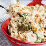 Easy Roasted Red Pepper Chicken Alfredo Bake